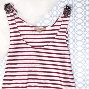 SANDRO Striped Linen Tank with Jeweled Shoulders